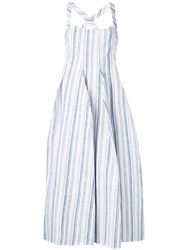 Stefano Mortari Striped Dress Women Linen Flax 42 White