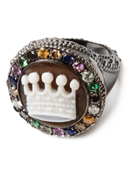Amedeo Crown Embellished Ring White