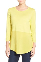 Women's Two By Vince Camuto Crewneck Mixed Media Tunic Acid Yellow