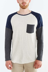 Koto Daimyo Blocked Long Sleeve Raglan Tee Blue