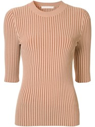 Dion Lee Ribbed Knit Fitted Top Brown