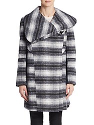 Sam Edelman Striped Wool Blend Coat Navy Plaid