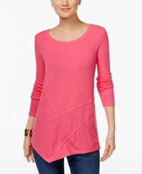 Inc International Concepts Ribbed Asymmetrical Tunic Only At Macy's Pink Lightening