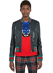 Gucci Metallic Stripe Trimmed Leather Bomber Jacket Black