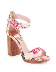 Ted Baker Lorno Stacked Block Heel Fabric Sandals Pink
