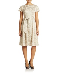 Anne Klein Cap Sleeve Fit And Flare Dress Beige
