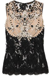 Reem Acra Crystal Embellished Corded Lace And Tulle Top Black