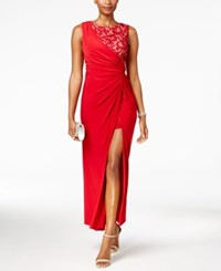 R And M Richards Petite Draped Lace Faux Wrap Gown Red