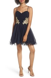 Blondie Nites Applique Sweetheart Fit And Flare Dress Navy Navy Gold