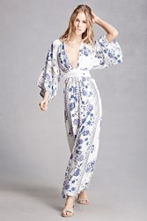 Forever 21 Selfie Leslie Floral Maxi Dress White Blue