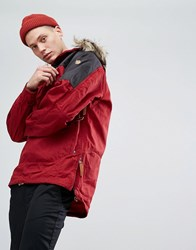 Fjall Raven Fjallraven Singi Overhead Jacket With Faux Fur Hood In Red Red