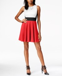 Bar Iii Colorblocked Fit And Flare Dress Only At Macy's Hibiscus Bloom Combo