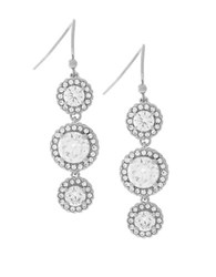Cole Haan Cubic Zirconia Rhodium Plated Brass Triple Drop Earrings Silver