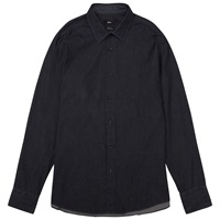 Boss Logo Boss Lukas Regular Fit Denim Optic Print Shirt Dark Blue
