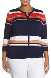 Plus Size Women's Halogen Three Quarter Sleeve Cardigan Navy Red Play Stripe