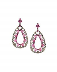 Bavna Floral Cutout Glass Ruby And Pink Sapphire Teardrop Earrings