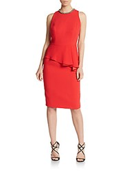 Carmen Marc Valvo Crepe Peplum Sheath Dress Coral