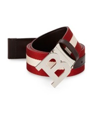 Bally Reversible Leather To Canvas Belt Black Beige Red White