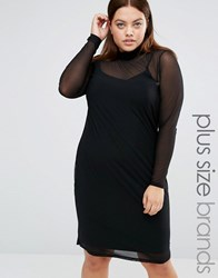 Junarose High Neck Bodycon Dress With Sheer Overlay Black