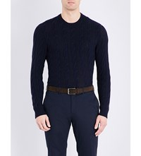 Ralph Lauren Purple Label Cable Knit Pure Cashemere Jumper Classic Chairma