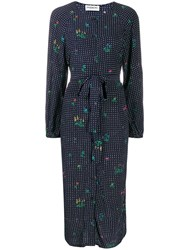 Essentiel Antwerp Tata Dotted Shirt Dress Blue