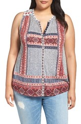 Lucky Brand Plus Size Women's Embroidered Tank Red Multi