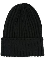 Kijima Takayuki Ribbed Knit Beanie Men Hemp Nylon Polyurethane One Size Black
