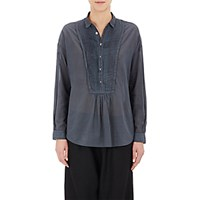 Pas De Calais Women's Pleated Voile Shirt Dark Grey