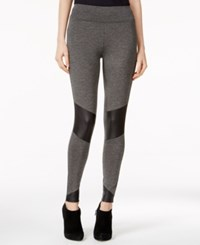 Kensie Faux Leather Inset Leggings Heather Ash