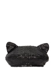 Maison Michel Billy Ears Sequined Hat Black