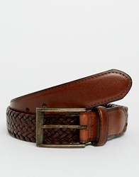 Racing Green Plaited Leather Belt Tan