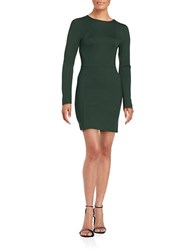 French Connection Lula Stretch Long Sleeve Fit And Flare Dress Pine Forest