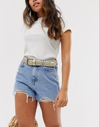 Glamorous Exclusive Gold Woven Belt With Square Gold Buckle