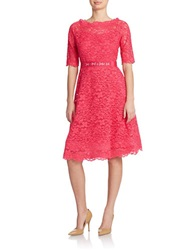Teri Jon Belted Lace Fit And Flare Dress Watermelon