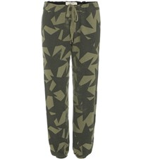 Current Elliott The Varsity Printed Cotton Track Pants Green