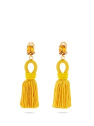Oscar De La Renta Short Tassel Drop Clip On Earrings Yellow