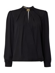 Biba Neck Trim Long Sleeve Blouse Black