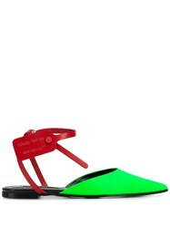 Off White Zip Tie Mules Green