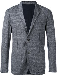 Paolo Pecora Textured Patch Pocket Blazer Men Cotton Linen Flax Polyamide 50 Blue