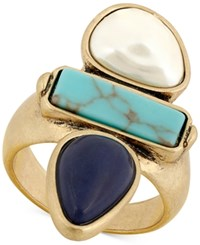 Lucky Brand Gold Tone Colored Stone And Imitation Pearl Ring