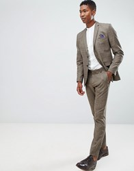 Selected Homme Slim Fit Suit Trouser In Brown Check Major Brown