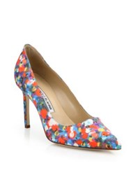 Manolo Blahnik Bb Multicolor Satin Point Toe Pumps Red Multi