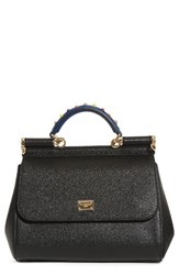 Dolce And Gabbana Small Miss Sicily Embellished Top Handle Leather Satchel Black