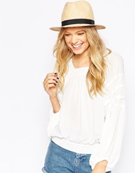 Asos Straw Trilby Hat With Narrow Band Natural