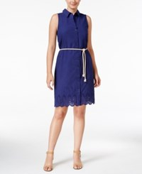 G.H. Bass And Co. Embroidered Scalloped Hem Dress True Navy
