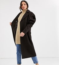 Asos Design Tall Extreme Sleeve Coat In Dark Chocolate Brown