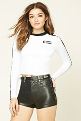 Forever 21 That Way Graphic Cropped Tee White Black