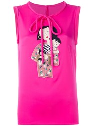 Dolce And Gabbana Family Patch Tank Top Pink Purple