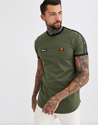 Ellesse Fede T Shirt With Taping In Khaki Green