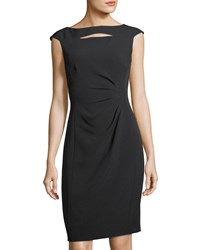 Tahari By Arthur S. Levine Slit Neck Side Ruched Sheath Dress Black
